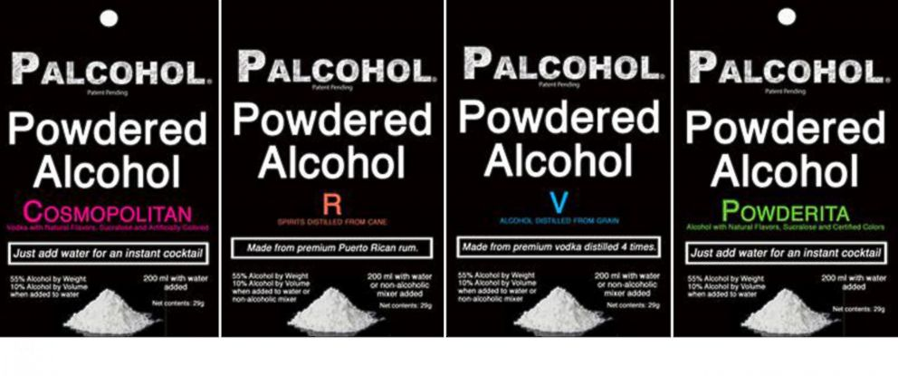 "PHOTO: Approved package designs for a powdered alcohol product called ""Palcohol"" were shared on the manufacturers website."