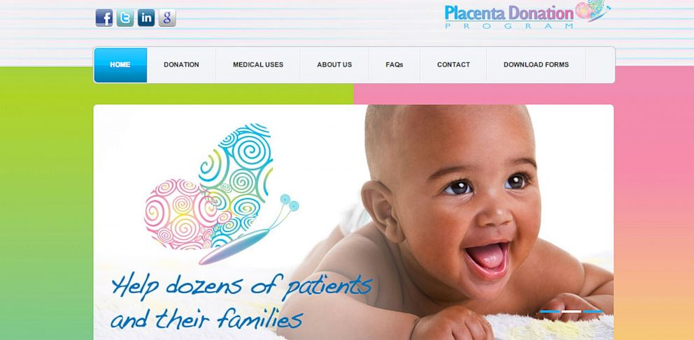 PHOTO: The Placenta Donation Centers website homepage is seen here.