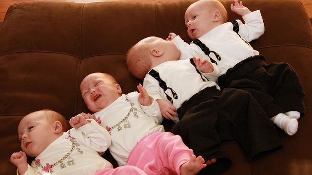 PHOTO: Mia, Madison, Jackson and James: Quadruplets born on Feb. 4, 2011.
