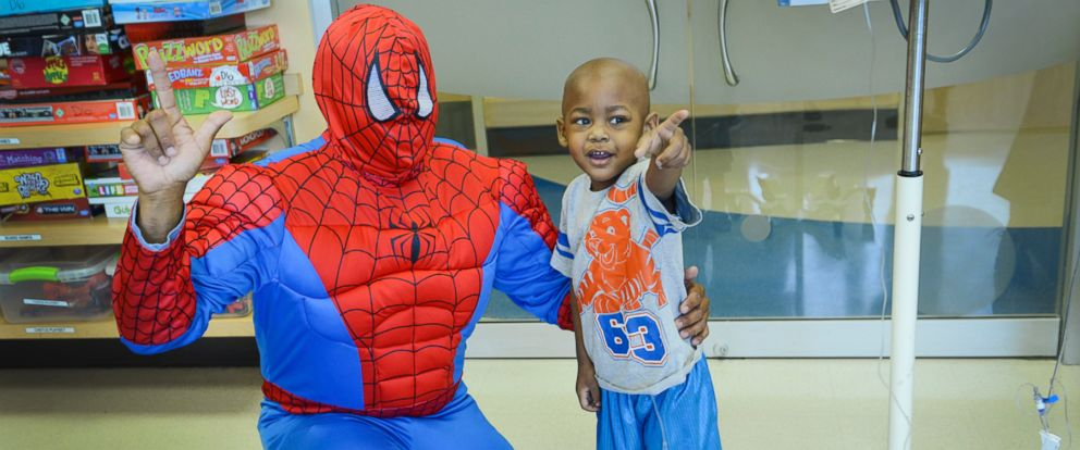 PHOTO: Nasir was so excited to see Spiderman that he jumped out of bed.