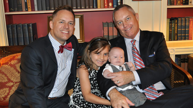 "PHOTO: Tommy Starling (left), with his husband Jeff and two children, was at a Fathers Day luncheon at the White House June 14, nominated by the Family Equality Council as an ""influential father."""