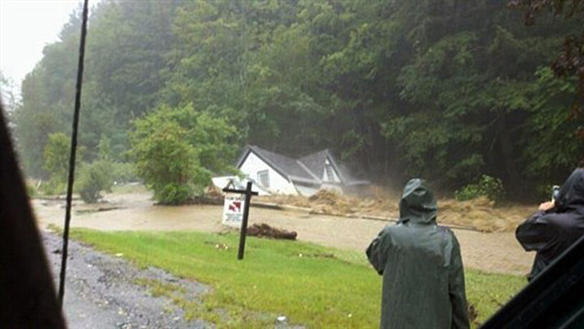 PHOTO: House in Killington Vt. washed off foundation after flooding from Irene