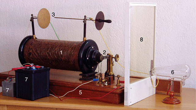 PHOTO Photograph of the x-ray system as it appeared in January 1896 pictured here (top) and a schematic drawing of how the electrical current generated would be utilized by the machine