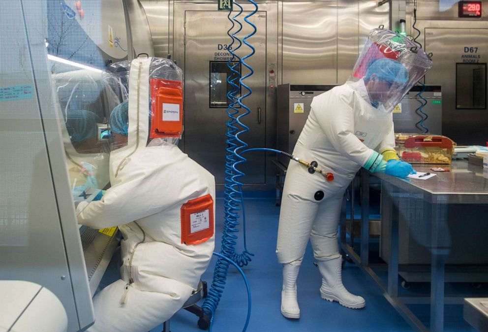 PHOTO: Workers inside the P4 laboratory in Wuhan, the capital of China's Hubei province, Feb. 23, 2017.