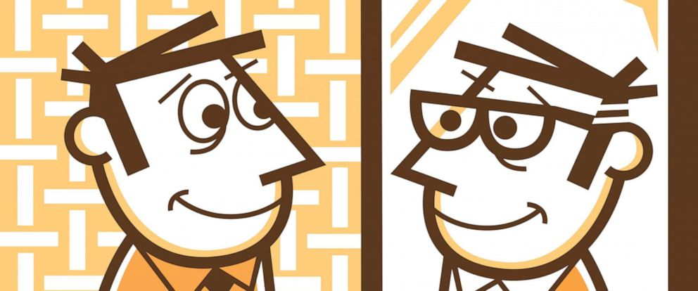 PHOTO: Illustration of a man looking in the mirror, seeing himself growing older.