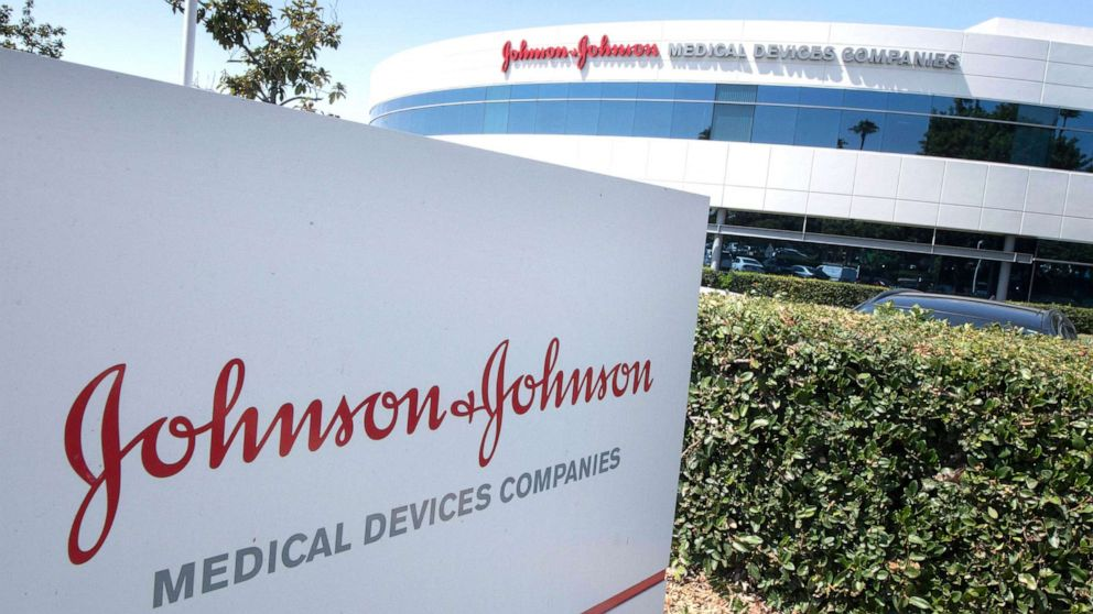 PHOTO: The entry sign to the Johnson & Johnson campus shows their logo in Irvine, Calif., August 28, 2019.