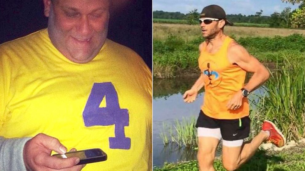 Joshua LaJaunie, the founder of the Missing Chins Run Club, is pictured before and after his more than 200-pound weight loss.