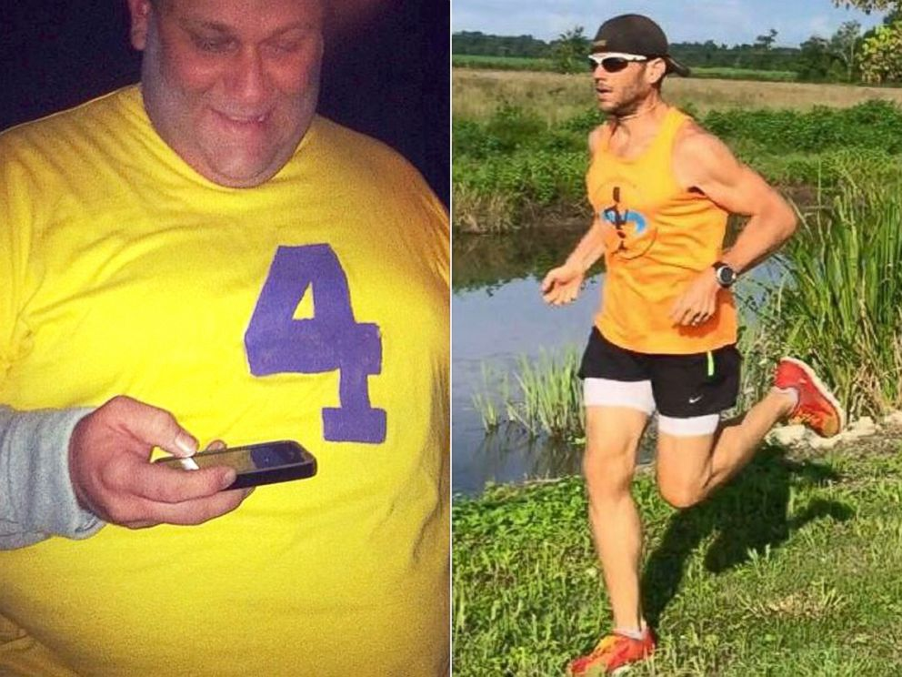 PHOTO: Joshua LaJaunie, the founder of the Missing Chins Run Club, is pictured before and after his more than 200-pound weight loss.