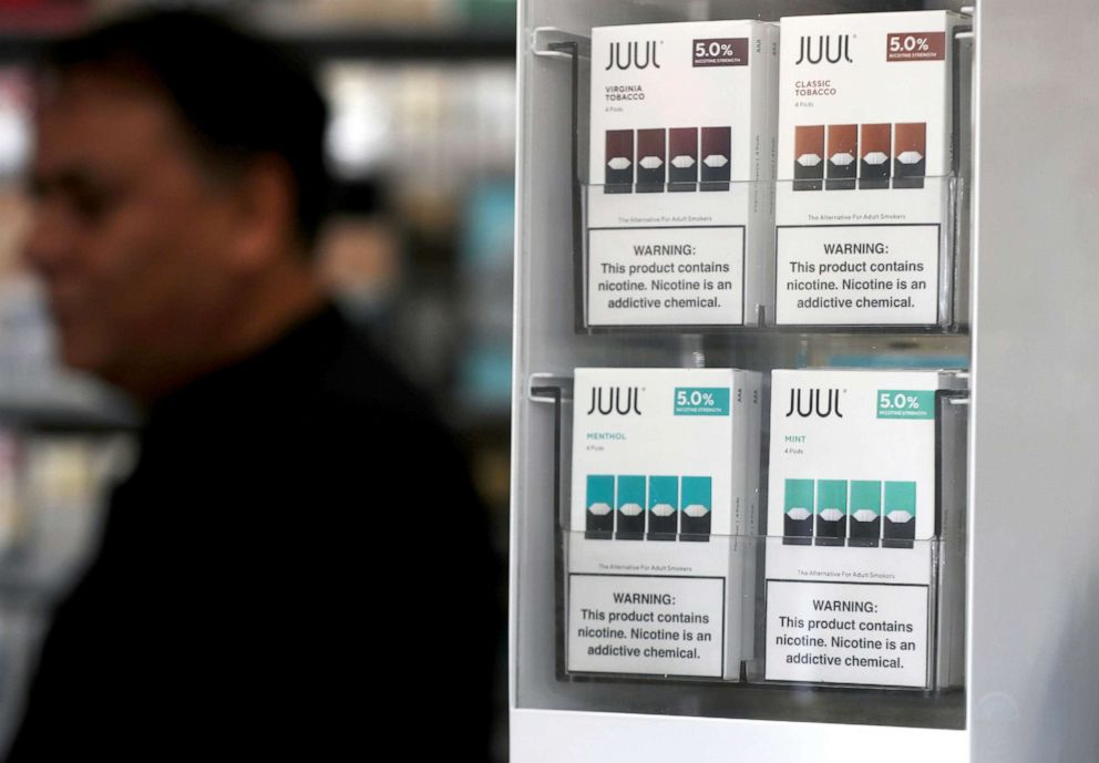 PHOTO: Packages of Juul mint flavored e-cigarettes are displayed at San Rafael Smokeshop on Nov. 7, 2019, in San Rafael, Calif.