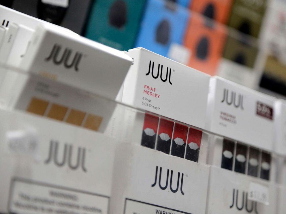 PHOTO: Juul products are displayed at a smoke shop in New York City, Dec. 20, 2018.