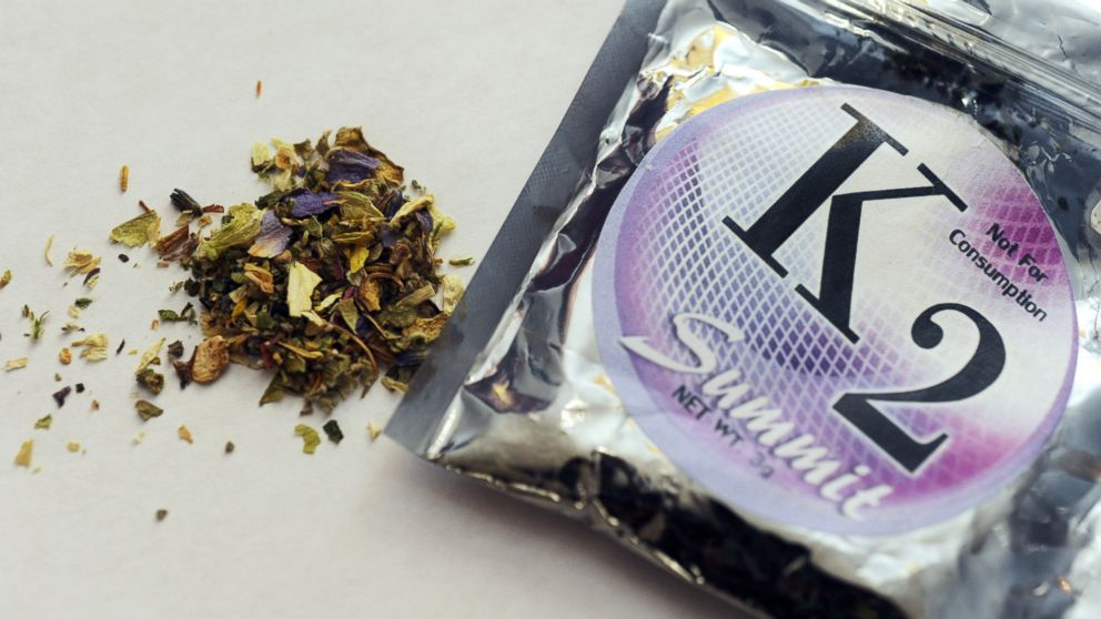 A package of K2, a concoction of dried herbs sprayed with chemicals, also known as synthetic marijuana.