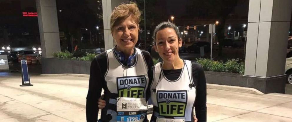 PHOTO: Kristin Marx ran the Milwaukee Half-Marathon on Oct. 15, 2017. Marx had a heart transplant in 2001. She was joined in the marathon by her mother-in-law, Linda Marx, left, as well as her cardiac-care team.
