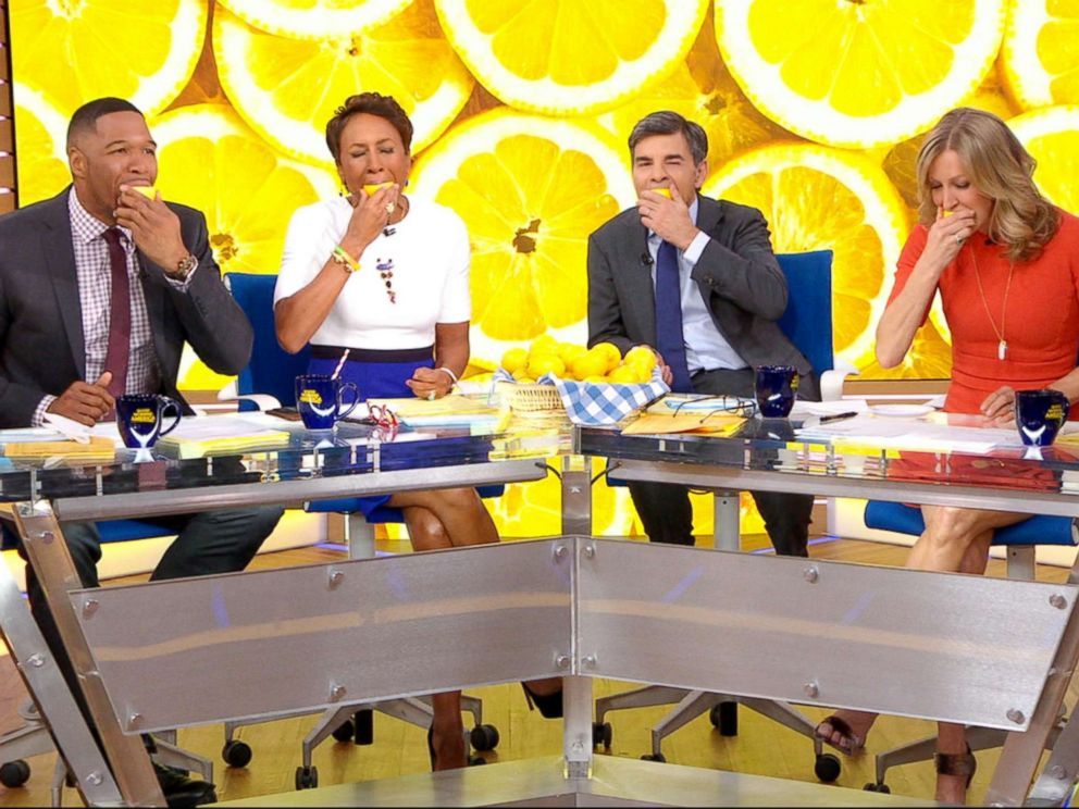 PHOTO: The Good Morning America anchors take part in the Lemons for Leukemia Challenge, a social media campaign to raise awareness about bone marrow donation.