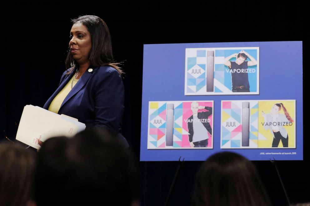 PHOTO: New York State Attorney General, Letitia James, arrives to announce a lawsuit by the state of New York against e-cigarette maker Juul Labs Inc in New York, Nov. 19, 2019.