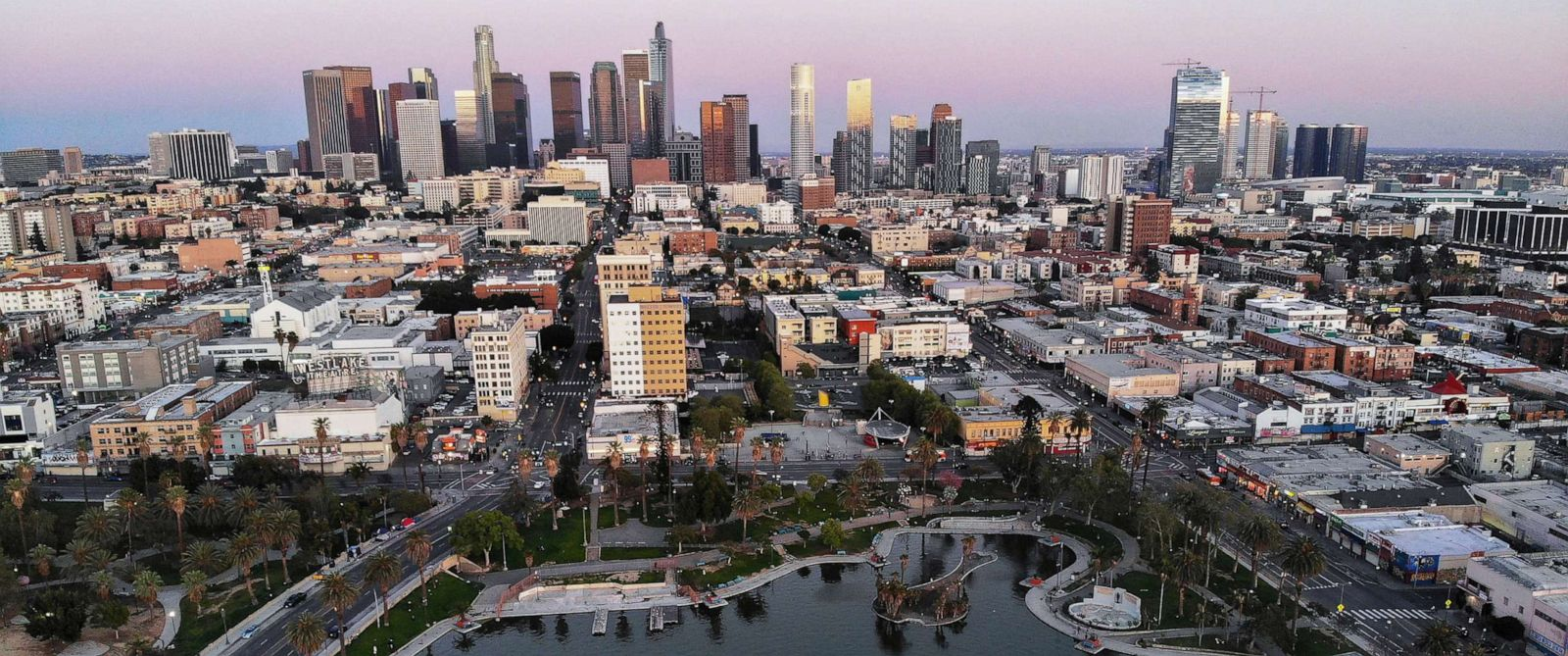 PHOTO: An aerial view shows MacArthur Park and downtown in the midst of the coronavirus pandemic, on April 15, 2020, in Los Angeles.