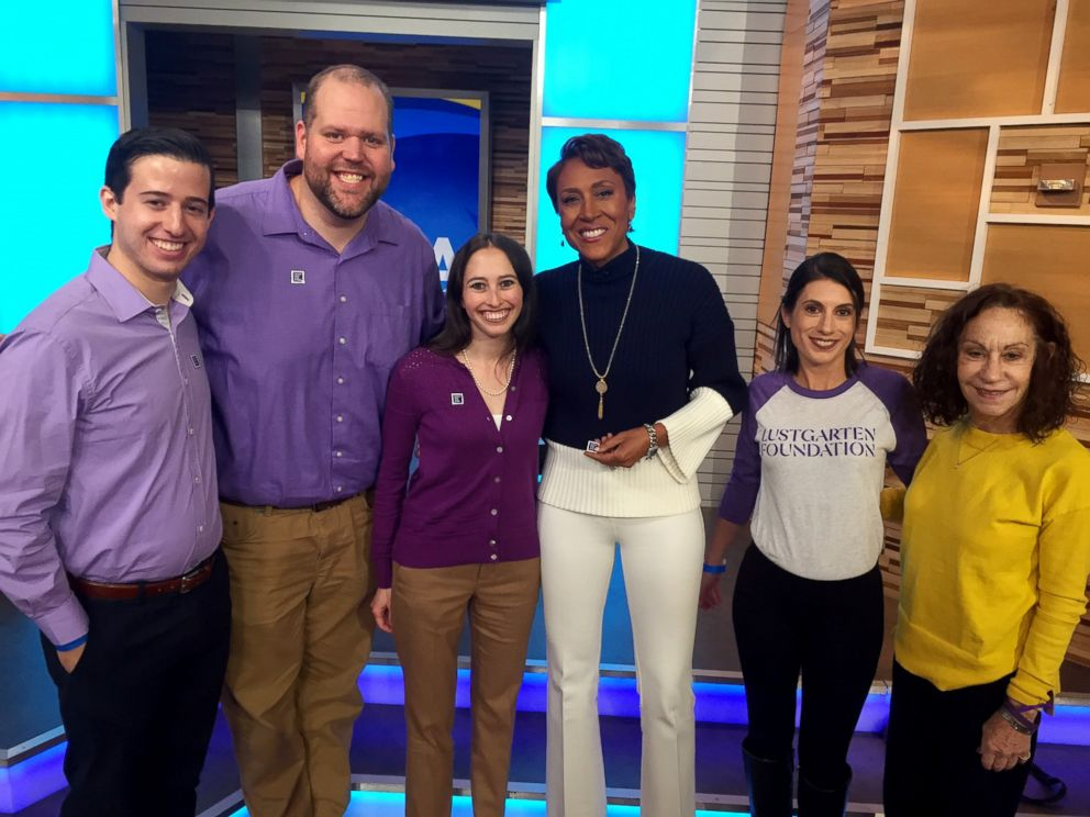 PHOTO: Matt, second from left, with ABC News' Robin Roberts and employees from Pancreatic Cancer Action Network and the Lustgarten Foundation for Pancreatic Cancer Research, visiting Good Morning America in honor of World Pancreatic Cancer Day.