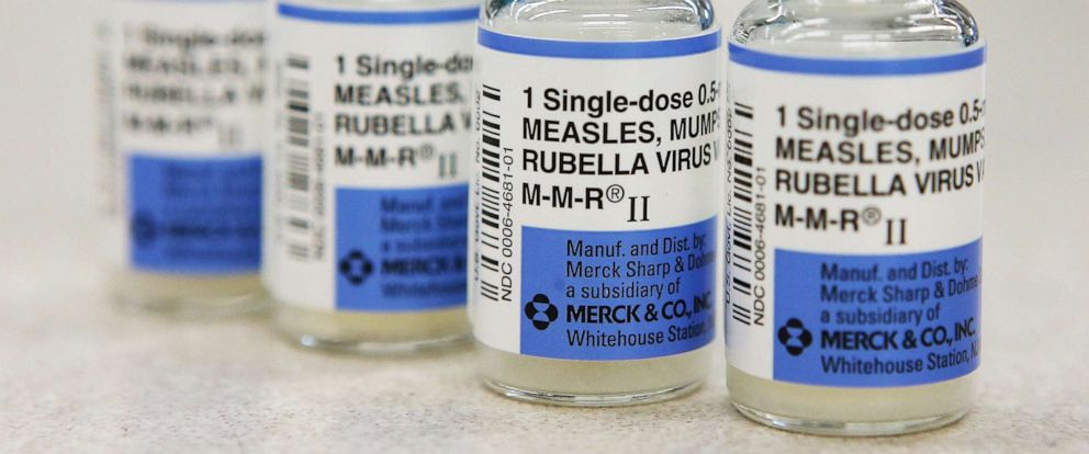 PHOTO: In this January 26, 2015, file photo, vials of measles, mumps and rubella vaccine are displayed on a counter at a Walgreens Pharmacy in Mill Valley, Calif.
