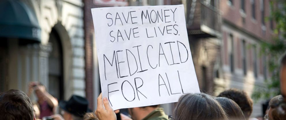 PHOTO: A small group of activists rally against the GOP health care plan outside of the Metropolitan Republican Club, July 5, 2017, in New York City.