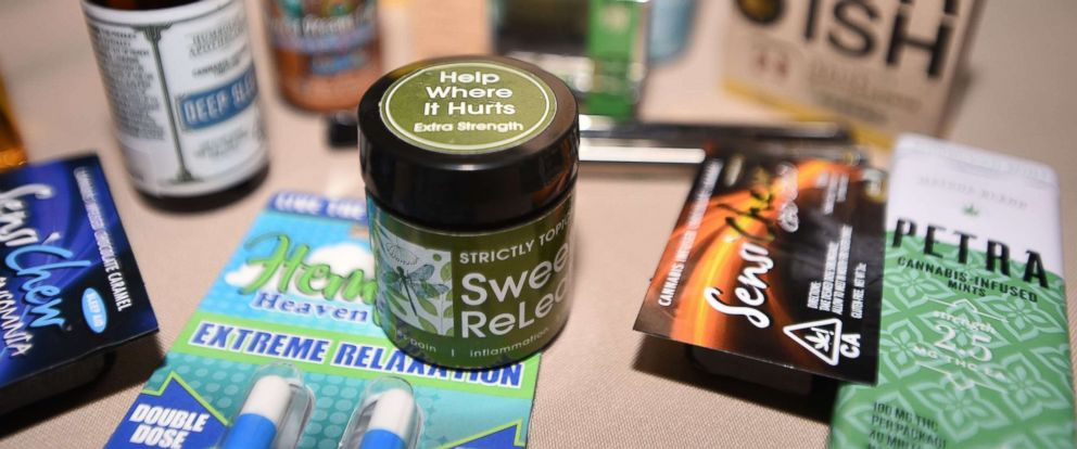 PHOTO: Medical marijuana products are displayed at a cannabis event in Brentwood, Calif., June, 21, 2018.