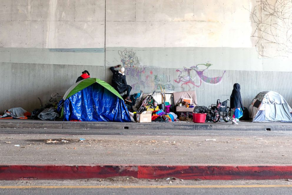 PHOTO: A homeless encampment off a Hollywood freeway ramp. Infectious diseases, some that ravaged populations in the Middle Ages, are resurging in California and around the country, and are hitting homeless populations especially hard.