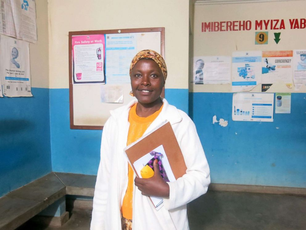 PHOTO: Sister Immaculate Owembabazi, 42, a psychiatric nurse, stands in the waiting room of Kisoro District Hospital.