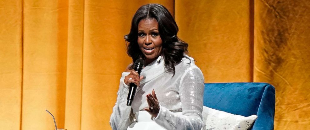 PHOTO: Former first lady Michelle Obama speaks at the opening of her multi-city book tour at the United Center in Chicago, Nov. 13, 2018.