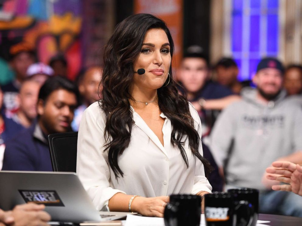 PHOTO: Molly Qerim on the set of First Take at the 2017 Super Bowl.