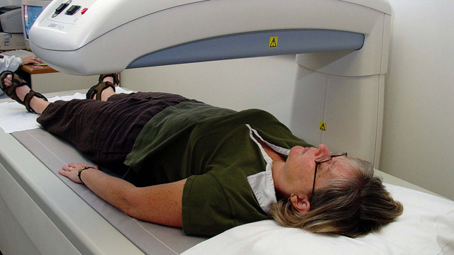 PHOTO: A low-dose x-ray is used for a bone density test.
