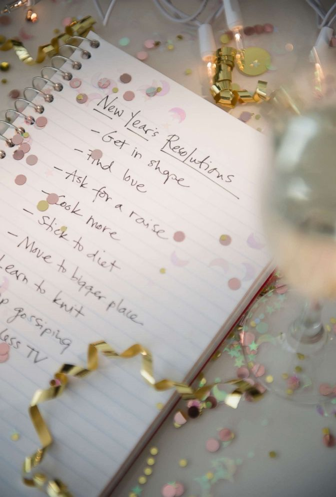 PHOTO: A New Years resolutions list is written out for the new year in this stock image.