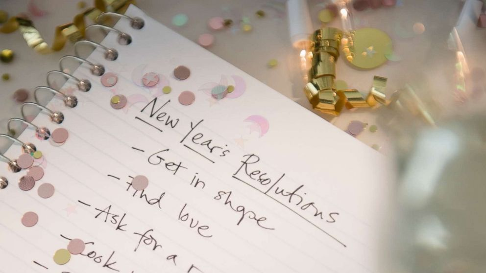 A New Year's resolutions list is written out for the new year in this stock image.