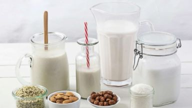 'PHOTO: Various types of vegan milk with ingredients.' from the web at 'https://s.abcnews.com/images/Health/non-diary-milk-gty-jpo-180214_16x9t_384.jpg'