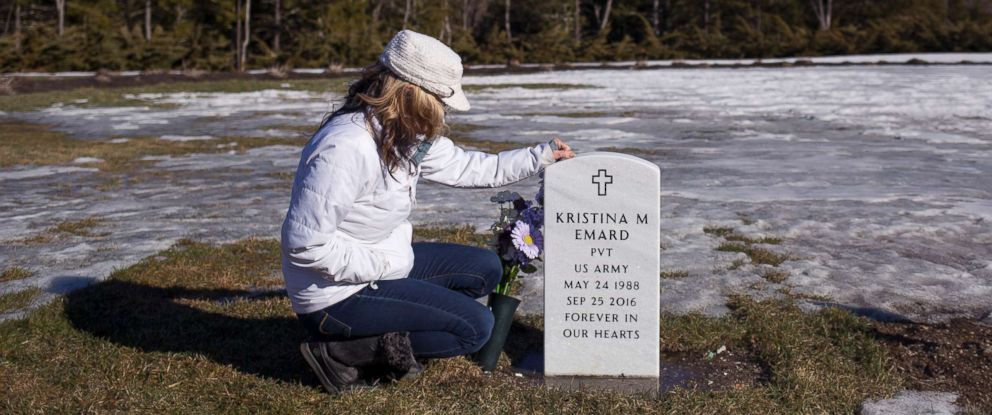 PHOTO: Ann Howgate visits her daughters grave in the Southern Maine Memorial Veterans Cemetery, March 3, 2017. Emard became addicted to opiates and died from an overdose of cocaine and fentanyl at the age of 28.