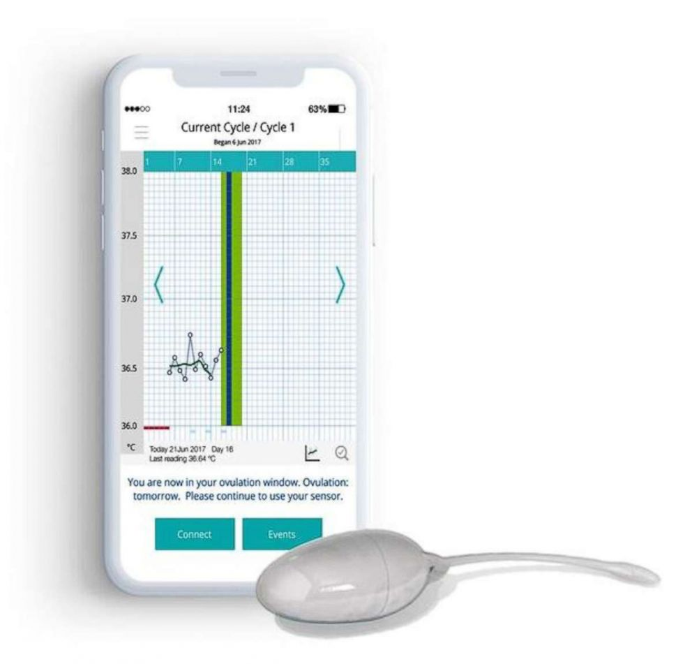 PHOTO: A 24-hour real time advance ovulation prediction message is displayed on the OvuSense app.
