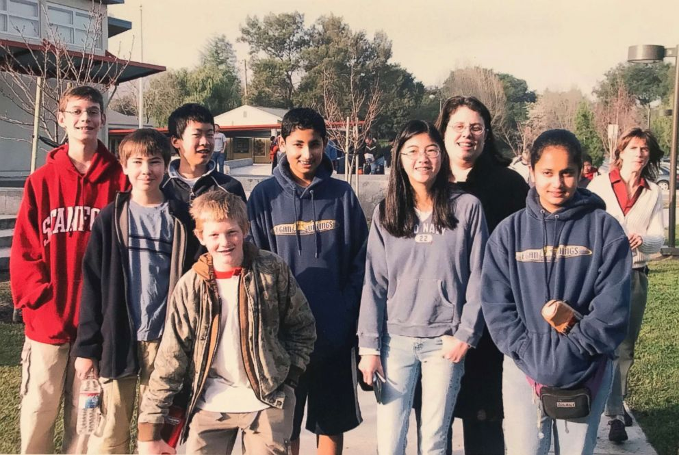 PHOTO: Shefali Luthra, second from right, pictured in the seventh grade with her school math team, carried epinephrine in a fanny pack as a child, in case she had an allergic reaction.