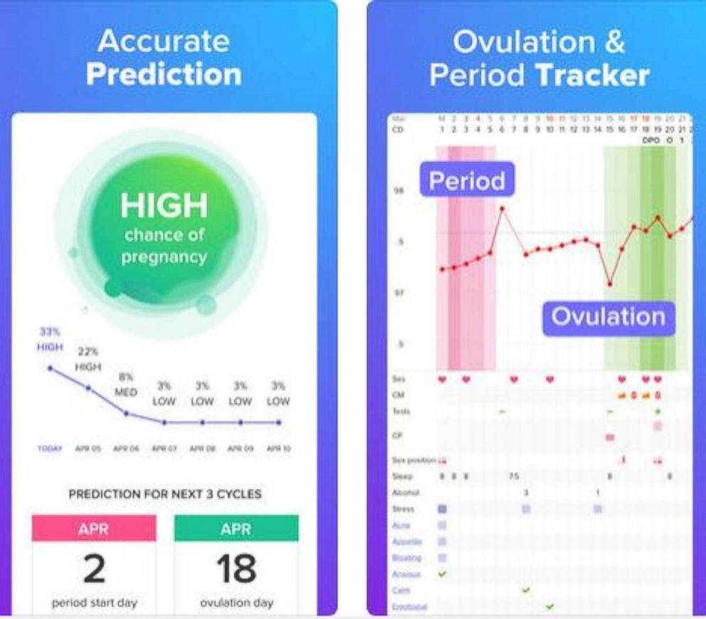 PHOTO: Glow the period and ovulation tracker phone app is pictured here.