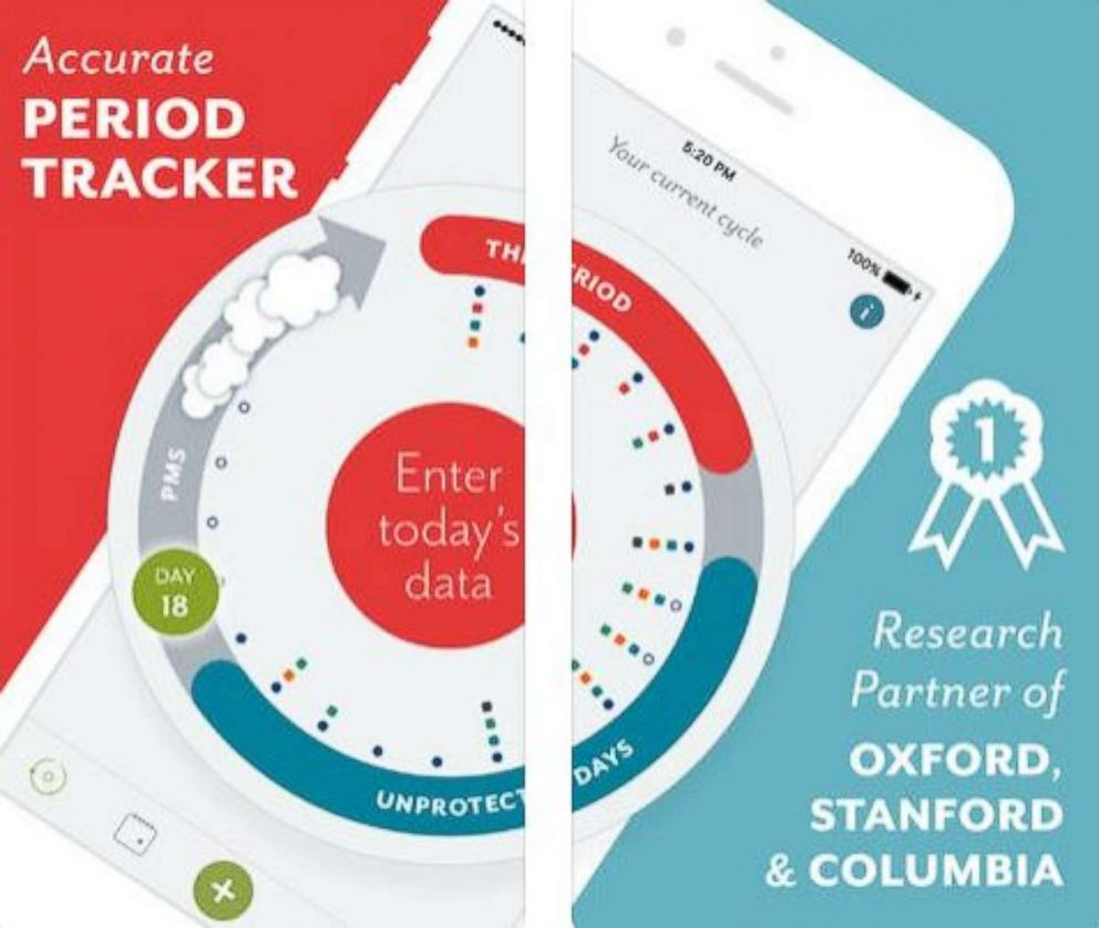 PHOTO: Clue the period and health tracker phone app is pictured here.