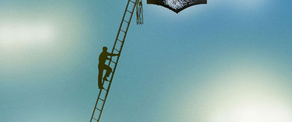 GRAPHIC: A person climbs a ladder towards a mortarboard in the sky.