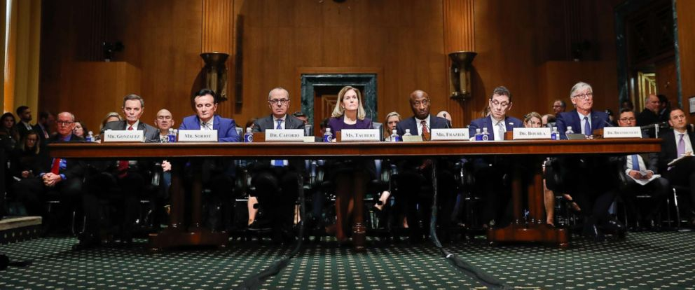 PHOTO: Pharmaceutical heads prepare to testify before the Senate Finance Committee hearing on drug prices, Feb. 26, 2019, in Washington.