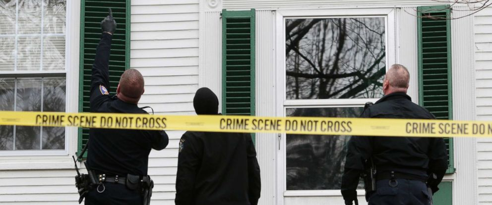 PHOTO: In this April 2, 2016 file photo, a Westbrook police officer and Maine State Police investigators at the scene where a Westbrook police officer shot a man with a handgun who was threatening suicide.