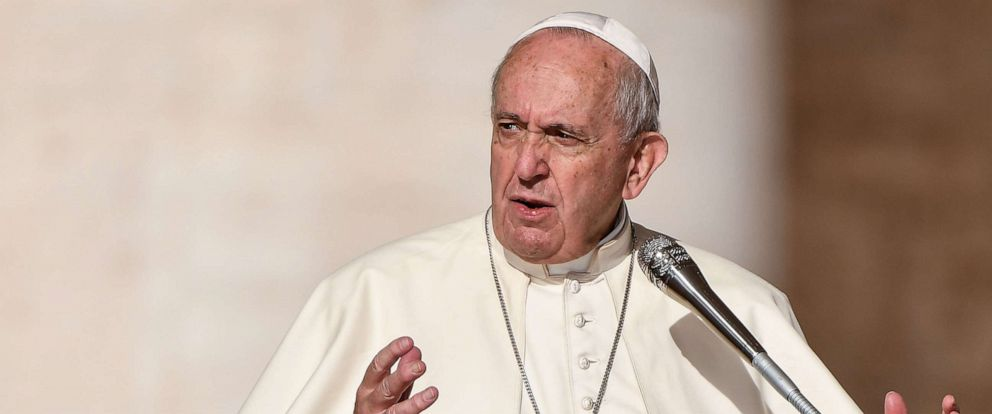 PHOTO: Pope Francis gestures as he speaks during the weekly general audience, Oct. 16, 2019, at St. Peters Square in the Vatican.