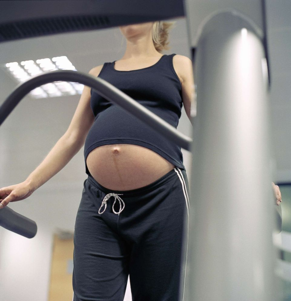 PHOTO: A pregnant woman exercises at a gym in this undated file photo.
