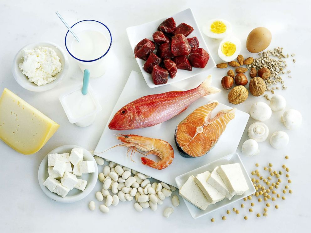 PHOTO: Protein-rich foods are displayed on a counter.