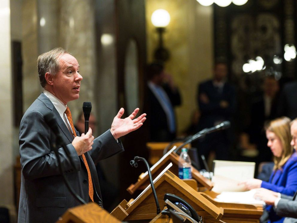 PHOTO: Wisconsin Assembly Speaker Robin Vos (R-Burlington) addresses the Assembly during a contentious legislative session, Dec. 4, 2018, in Madison, Wisconsin.