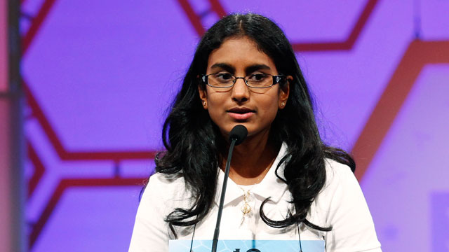 "PHOTO: Snigdha Nandipati, 14, of San Diego, Calif. spells ""guetapens"" during her victory in the Scripps National Spelling Bee at National Harbor in Md. May 31, 2012."