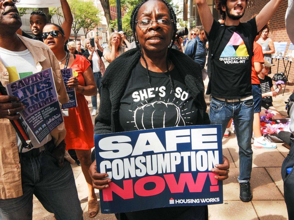 PHOTO: Advocates for safe injection sites rallied in front of the James A Byrne Federal Courthouse in Center City in Philadelphia, Pa., Sept. 5, 2019.