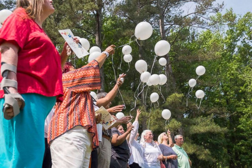 PHOTO: A balloon release concludes the annual bereavement ceremony at Gray Health and Rehabilitation in Gray, Ga.