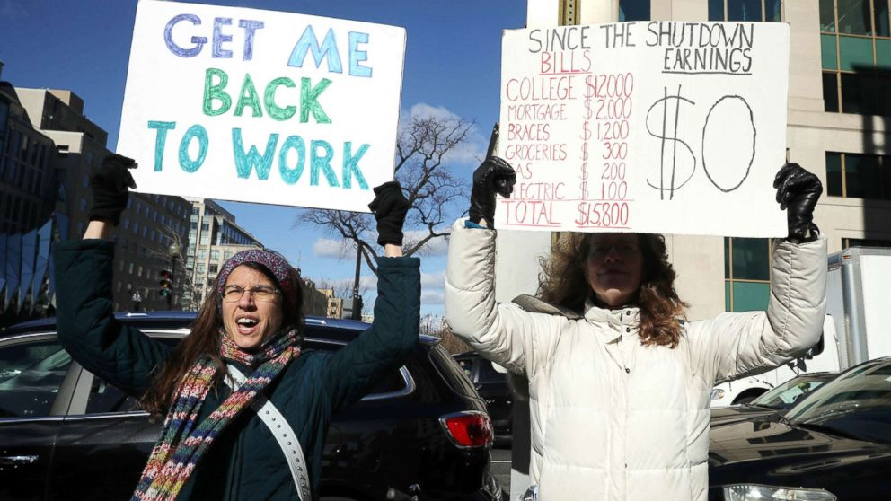 Hundreds of federal workers and contractors rally against the partial federal government shutdown outside the headquarters of the AFL-CIO, Jan. 10, 2019, in Washington, D.C.