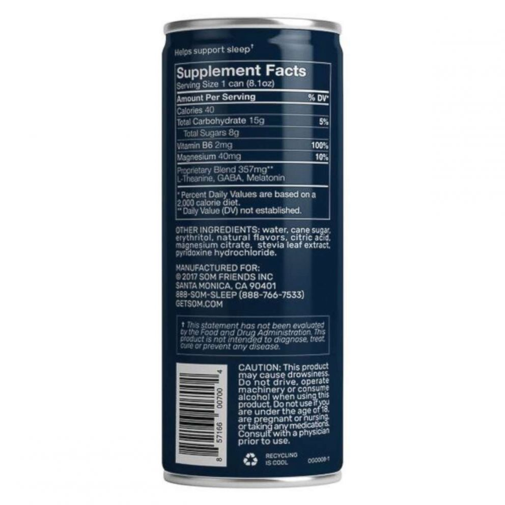 PHOTO: Som Sleep drinks contain 40 calories and eight grams of sugar.