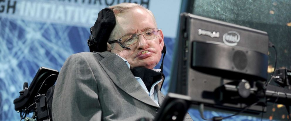"""PHOTO: Cosmologist Stephen Hawking attends the New Space Exploration Initiative """"Breakthrough Starshot"""" Announcement at One World Observatory in New York City, April 12, 2016."""