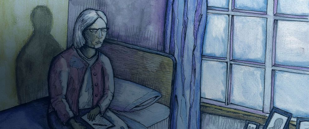 ILLUSTRATION: An artists depiction shows a senior sitting on her bed, holding a note.